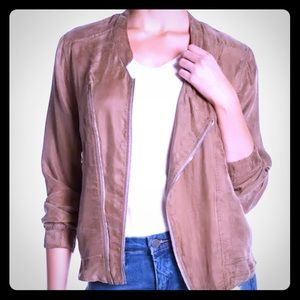BLANK NYC L Faux Suede Asymmetrical Bomber jacket